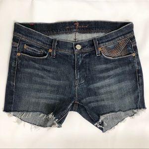 7 For All Mankind Dark Wash Cutoff Jean Shorts s28